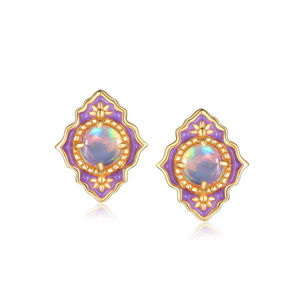 Natural Opal Earrings Sterling Silver Yellow Gold